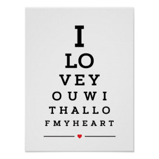 I love you with all of my heart eye chart