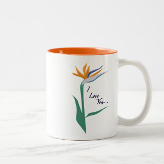 I Love You with Bird of Paradise Two-Tone Coffee Mug
