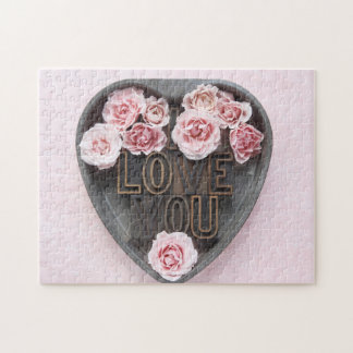 I love you with pink roses jigsaw puzzle