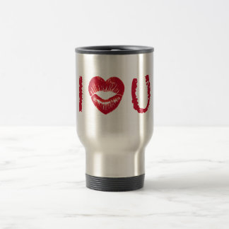 I love you with red heart lips travel mug