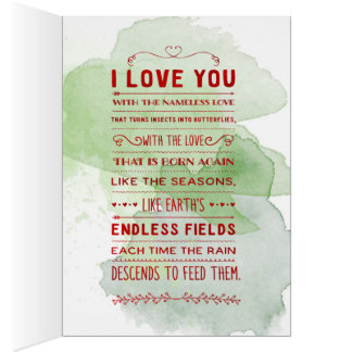 """""""I Love You With The Nameless Love…"""" Funky Chic Card"""