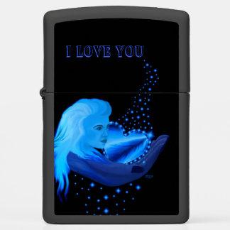 I love You , Woman and Blue Rainbow Heart , Stars Zippo Lighter