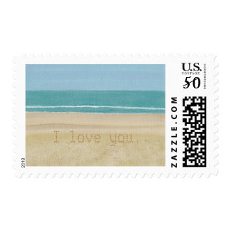 I love you, Write your message Beach Stamps