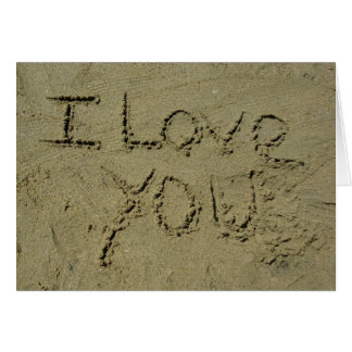 I Love You Written In Sand Greeting Card