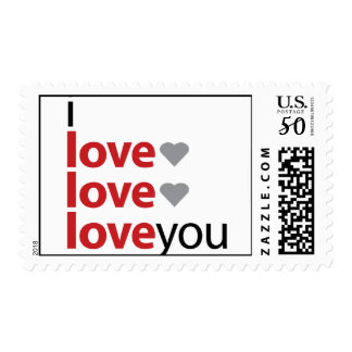 I love you x 3 stamp