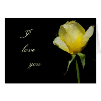 I love you yellow rose greeting card