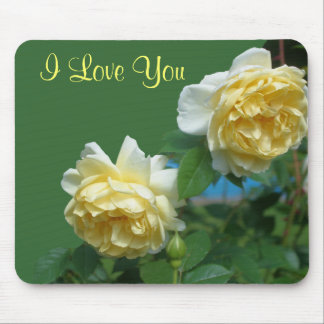 I Love You Yellow Roses Flower Photo Mousepad