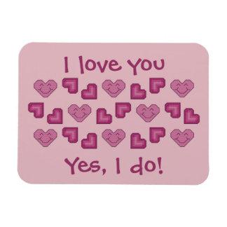 I love you yes I do Happy Hearts Magnet