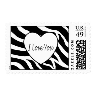 I Love You Zebra Heart Stamps