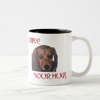 I Love Your Hugs Dachshund Photo Coffee Mug