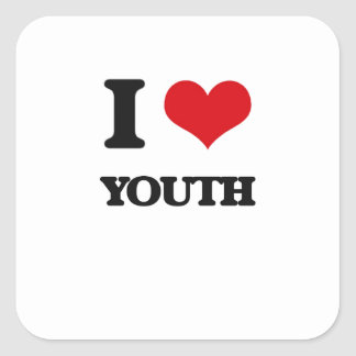 I love Youth Square Sticker