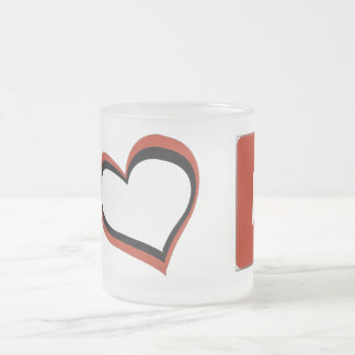 I LOVE YOUTUBE SYMBOLS FROSTED GLASS COFFEE MUG
