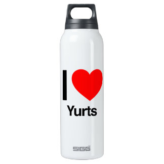 i love yurts thermos water bottle