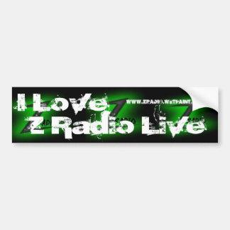 """I Love Z Radio Live"" Bumper Sticker"