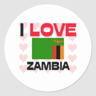 I Love Zambia Classic Round Sticker