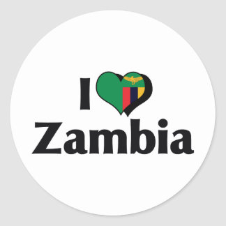 I Love Zambia Flag Classic Round Sticker
