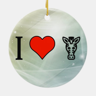 I Love Zebras Double-Sided Ceramic Round Christmas Ornament