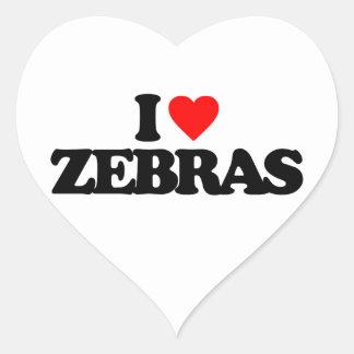 I LOVE ZEBRAS HEART STICKER