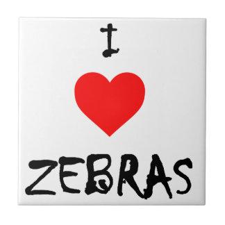 I Love Zebras Small Square Tile