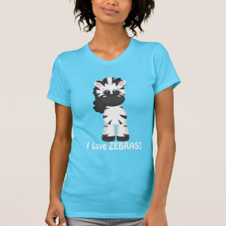 I Love Zebras womens cartoon t-shirt