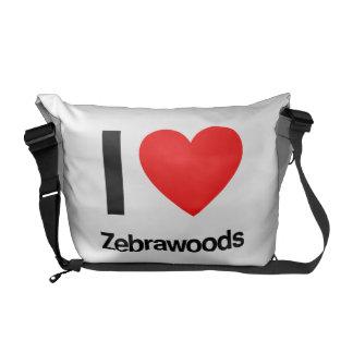 i love zebrawoods messenger bag