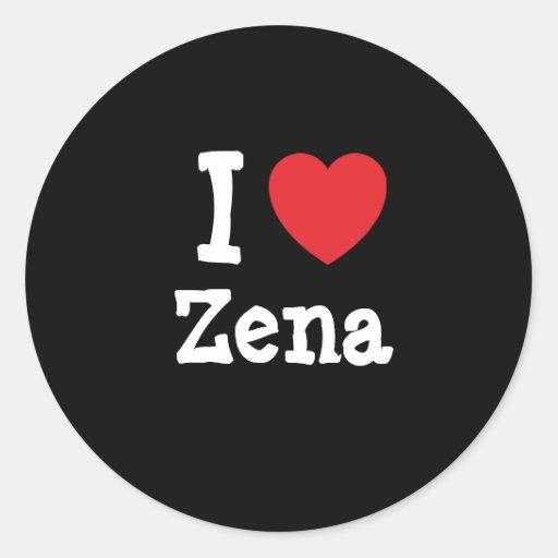 I love Zena heart T-Shirt Classic Round Sticker
