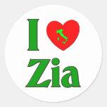 I Love Zia (Italian Aunt) Round Sticker