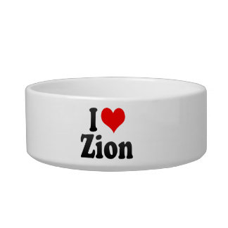 I Love Zion, United States Cat Water Bowl