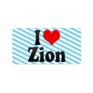 I Love Zion, United States Personalized Address Label