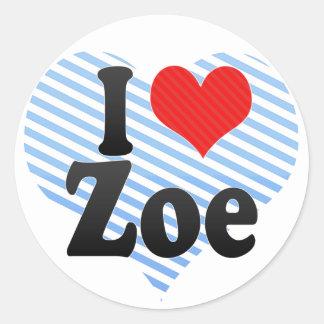 I Love Zoe Round Sticker