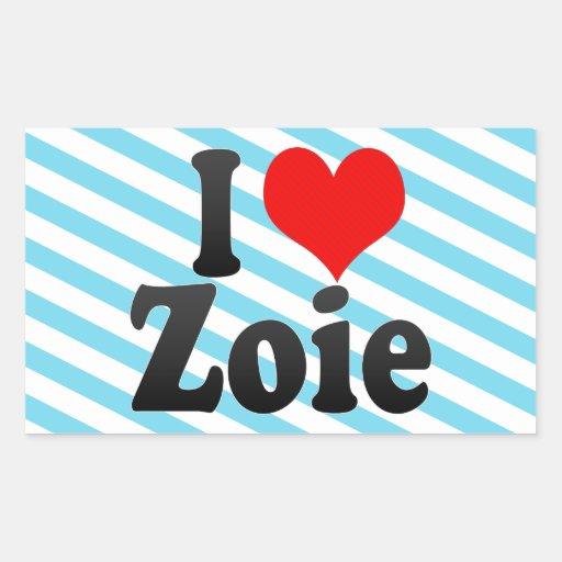 I love Zoie Rectangular Sticker
