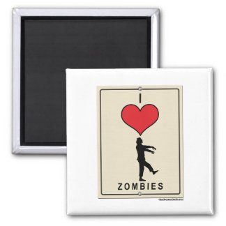 I Love Zombies 2 Inch Square Magnet