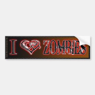 I LOVE ZOMBIES BUMPER STICKERS