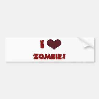 I love zombies bumper sticker