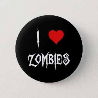 I Love Zombies Button