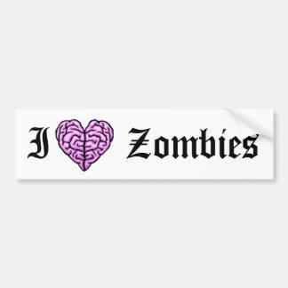 I love zombies car bumper sticker