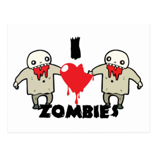 i love zombies character design with heart postcard