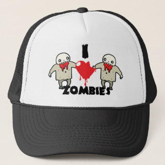 i love zombies character design with heart trucker hat