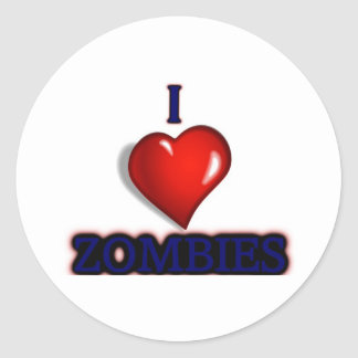 I love zombies classic round sticker