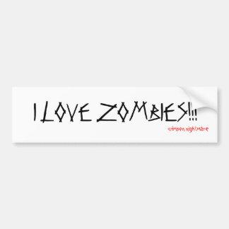 I LOVE ZOMBIES!!!, crimson nightmare Bumper Stickers