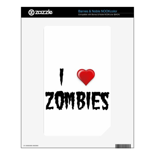 I Love Zombies Decal For The NOOK Color