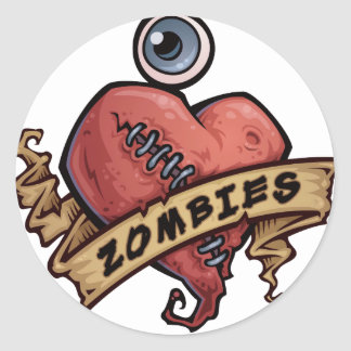 i love zombies eye and heart design classic round sticker