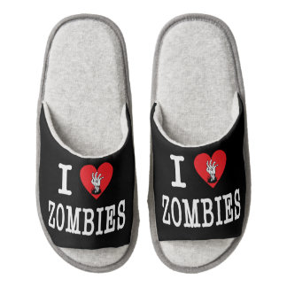 I Love Zombies Pair Of Open Toe Slippers