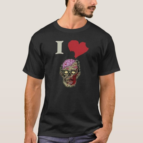 I LOVE ZOMBIES GRAPHIC TEE with EXPOSED BRAINS!!