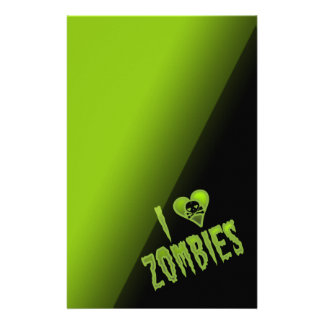 I Love Zombies Horror Monster Stationery