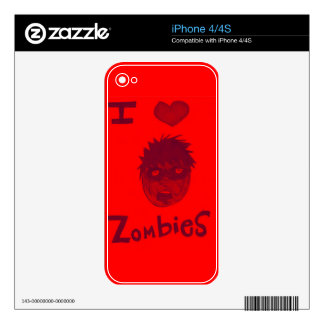 i love zombies iPhone 4 decal