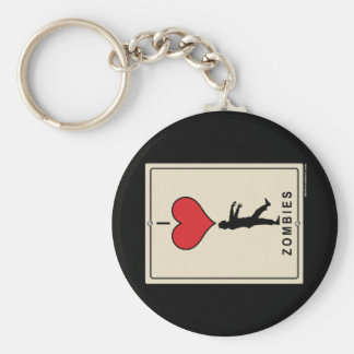 I Love Zombies Basic Round Button Keychain