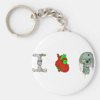 I Love Zombies!! Basic Round Button Keychain