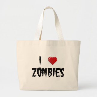 I Love Zombies Large Tote Bag