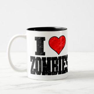 I Love Zombies Two-Tone Coffee Mug